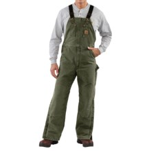 Carhartt Quilt-Lined Bib Overalls - Sandstone Duck (For Men) in Moss - 2nds
