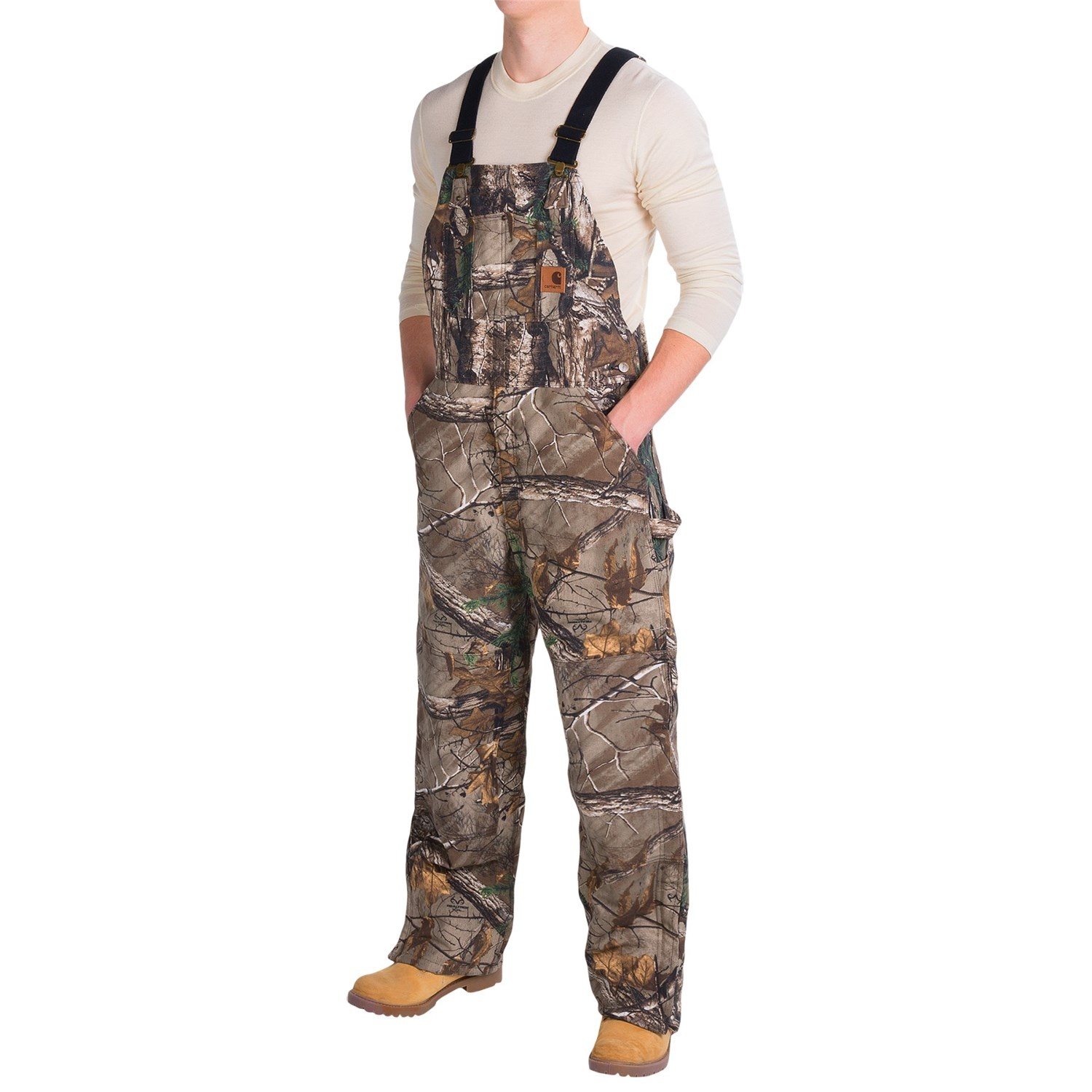 Carhartt Quilt Lined Camo Bib Overalls For Men