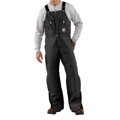 Carhartt Quilt-Lined Duck Bib Overalls - Factory Seconds (For Men) in Black