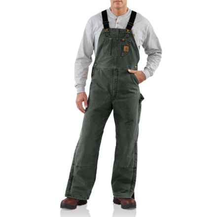 Carhartt Quilt Lined Sandstone Bib Overalls - Insulated (For Men) in Moss - Closeouts