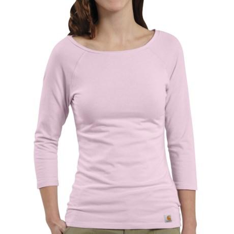 Carhartt Raglan T-Shirt - 3/4 Sleeve (For Women) in Light Orchid