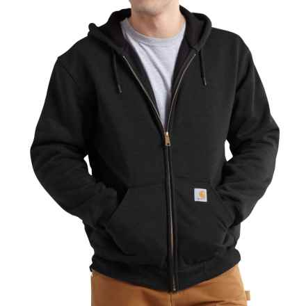 Carhartt Rain Defender® Rutland Thermal-Lined Hoodie - Zip Front, Factory Seconds (For Big and Tall Men) in Black - 2nds