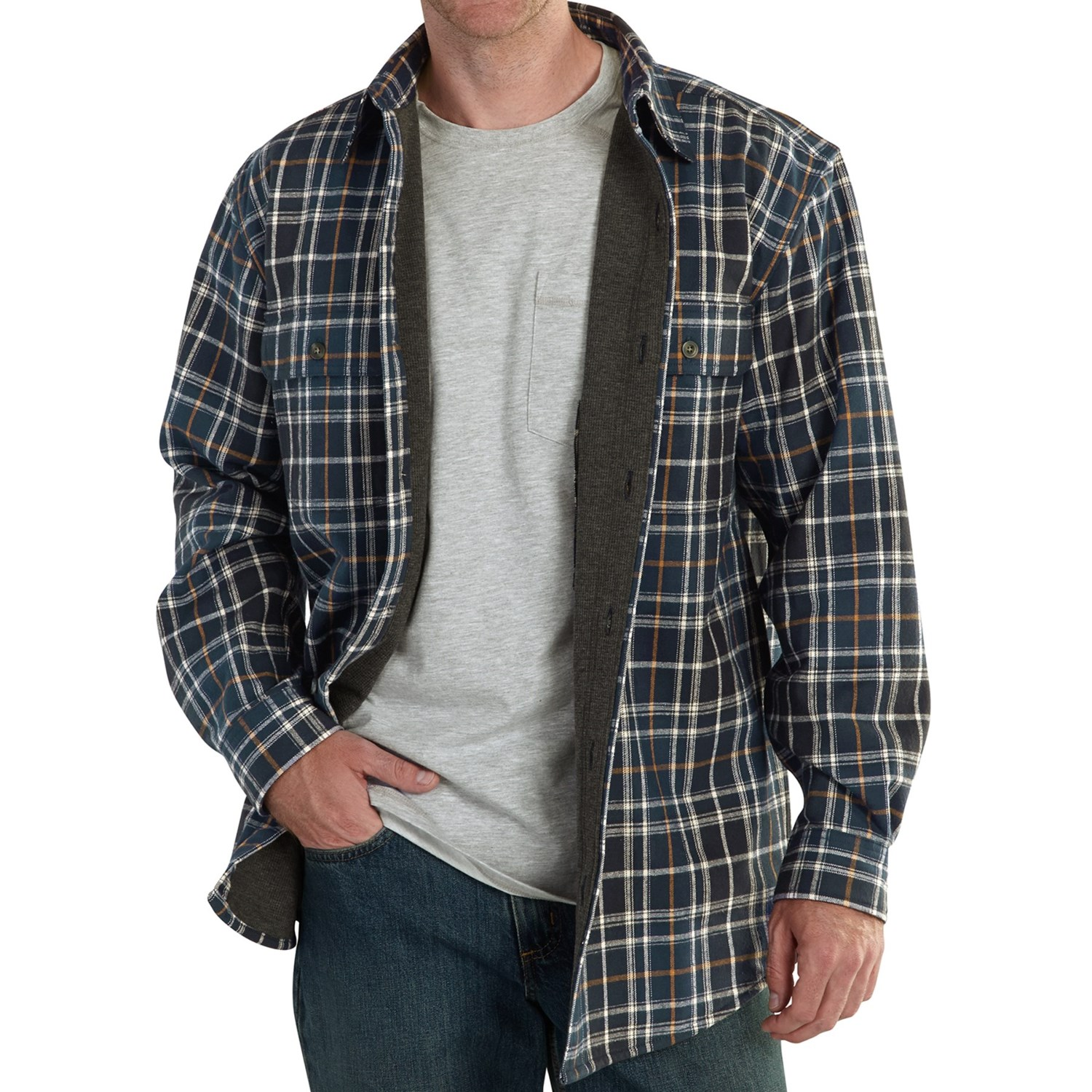 Men 39 s tall flannel shirt jacket long sweater jacket for Flannel shirt and vest