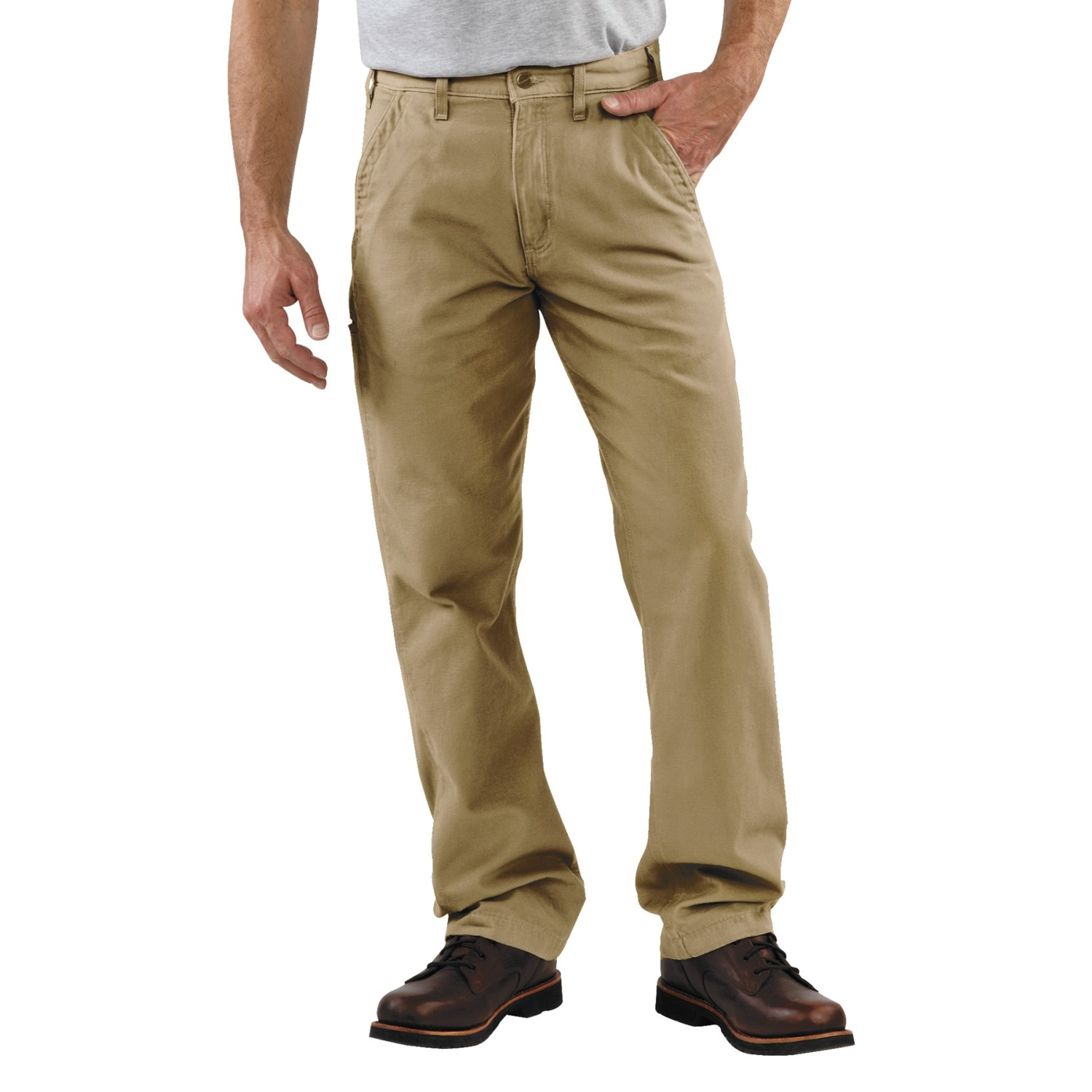 "Khaki pants and a button-down shirt are a smart choice for casual Friday at the office. For a day spent working around the house, stay comfortable in khakis, a t-shirt, and sneakers. Boots and khakis come together for a ""look good anywhere"" combination."