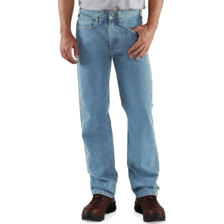 Carhartt Relaxed Fit Work Jeans - Straight Leg (For Men) in Light Vintage Blue