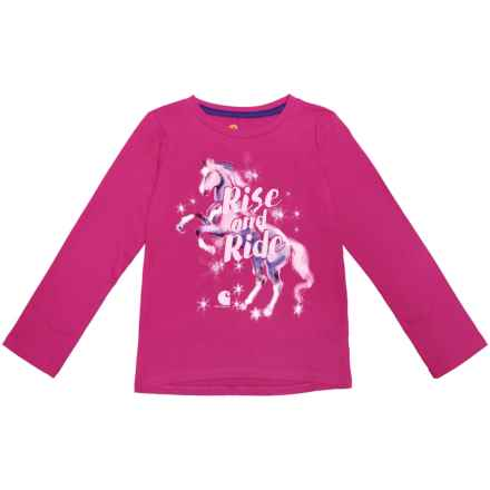 Carhartt Rise and Ride T-Shirt - Long Sleeve (For Toddler Girls) in Bright Pink - Closeouts