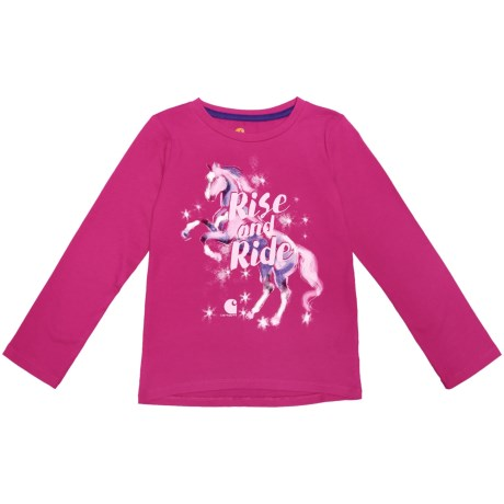 Carhartt Rise and Ride T-Shirt - Long Sleeve (For Toddler Girls) in Bright Pink