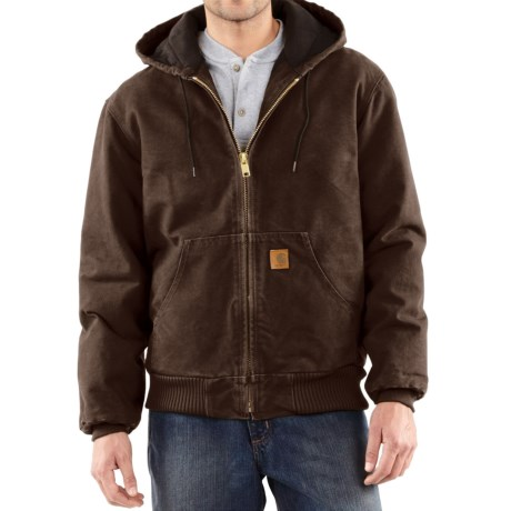 Carhartt Sandstone Active Jacket - Washed Duck, Factory Seconds (For Big Men) in Dark Brown