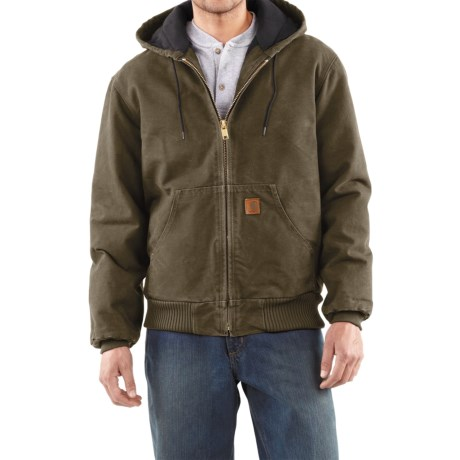 Carhartt Sandstone Active Jacket - Washed Duck (For Men) in Army Green