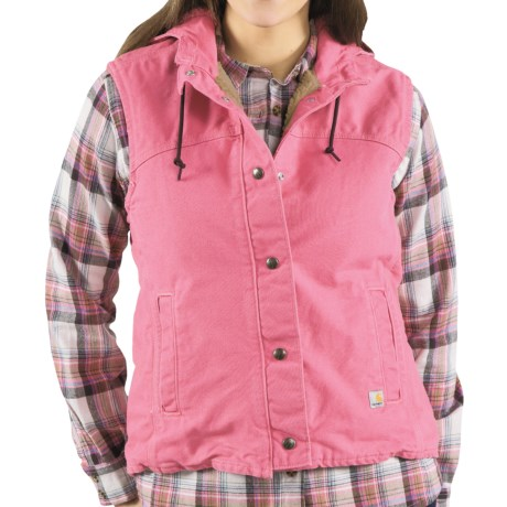 Carhartt Sandstone Berkley Vest - Sherpa-Lined (For Women) in Pink Rose