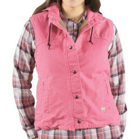 Carhartt Sandstone Berkley Vest - Sherpa-Lined (For Women) in Pink Rose