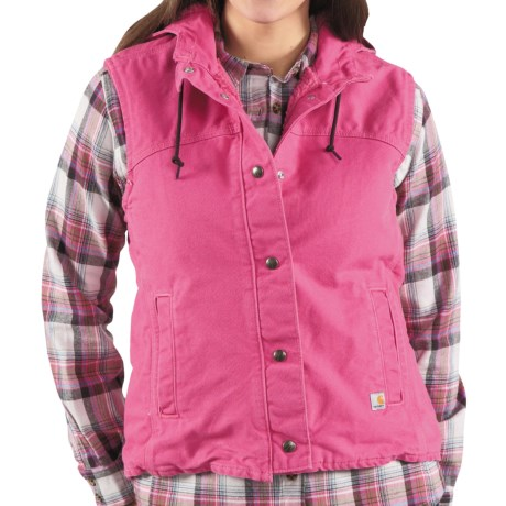 Carhartt Sandstone Berkley Vest - Sherpa-Lined (For Women) in Tulip Pink