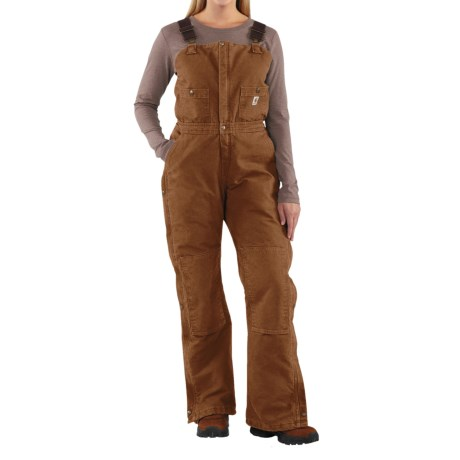 Carhartt Sandstone Bib Overalls - Insulated  (For Women) in Carhartt Brown