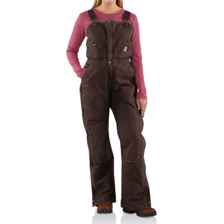 Carhartt Sandstone Bib Overalls - Insulated  (For Women) in Dark Brown