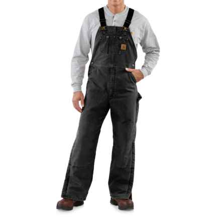 Carhartt Sandstone Bib Overalls - Long, Quilt Lined, Insulated (For Men) in Black - 2nds
