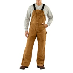 Carhartt Sandstone Bib Overalls - Long, Quilt Lined, Insulated (For Men) in Carhartt Brown