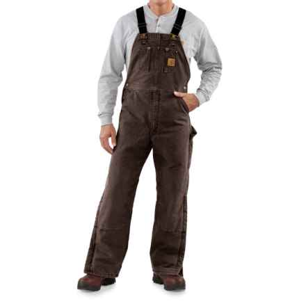 Carhartt Sandstone Bib Overalls - Long, Quilt Lined, Insulated (For Men) in Dark Brown - 2nds