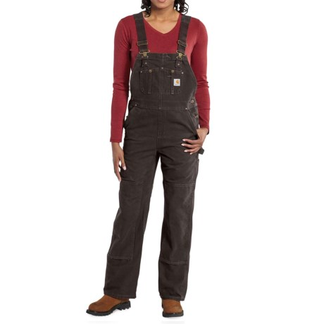 Carhartt Sandstone Bib Overalls - Unlined (For Women) in Dark Brown