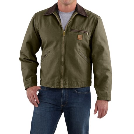Carhartt Sandstone Detroit Jacket - Blanket Lined, Factory Seconds (For Big Men) in Army Green
