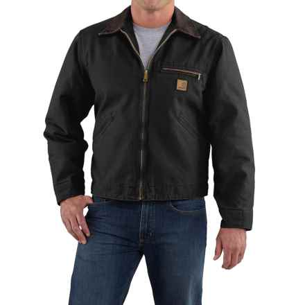 Carhartt Sandstone Detroit Jacket - Blanket Lined, Factory Seconds (For Tall Men) in Black - 2nds