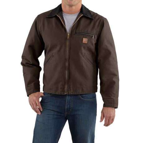 Carhartt Sandstone Detroit Jacket - Blanket Lined, Factory Seconds (For Tall Men) in Dark Brown