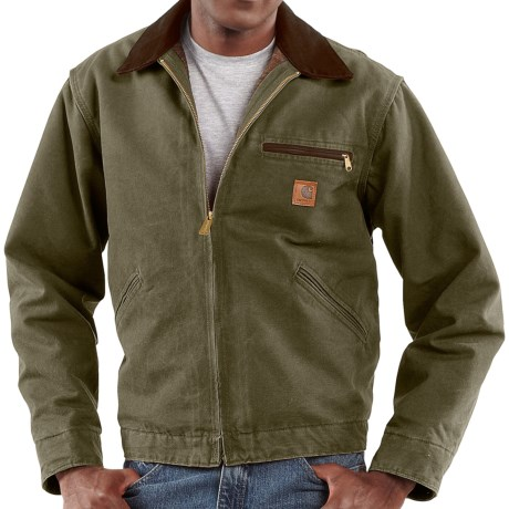 Carhartt Sandstone Detroit Jacket - Blanket-Lined (For Tall Men) in Army Green