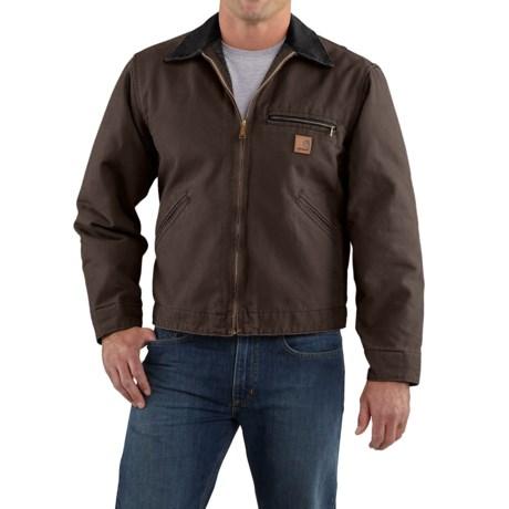 Carhartt Sandstone Detroit Jacket - Blanket-Lined (For Tall Men) in Dark Brown