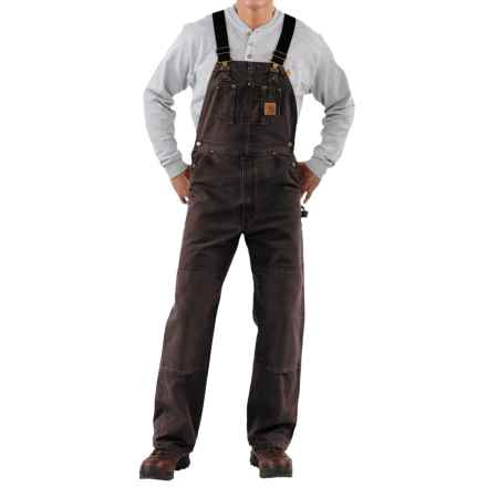 Carhartt Sandstone Duck Bib Overalls - Sandstone Duck, Unlined, Factory Seconds (For Men) in Dark Brown - 2nds