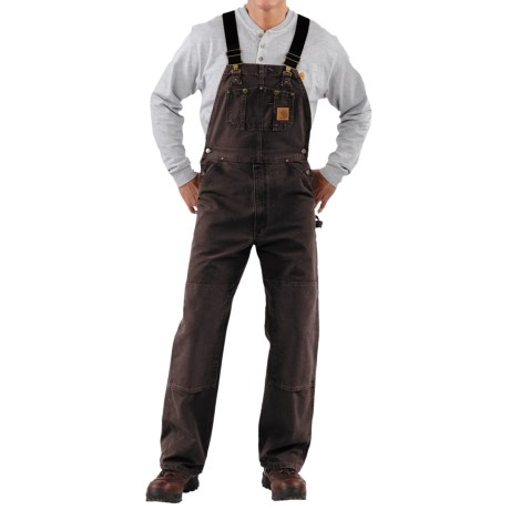 Carhartt Sandstone Duck Bib Overalls - Sandstone Duck, Unlined, Factory Seconds (For Men) in Dark Brown
