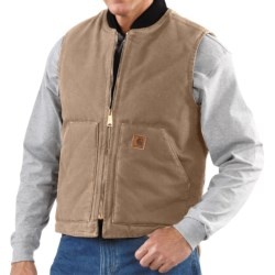 Carhartt Sandstone Duck Vest - Insulated (For Men) in Dark Brown