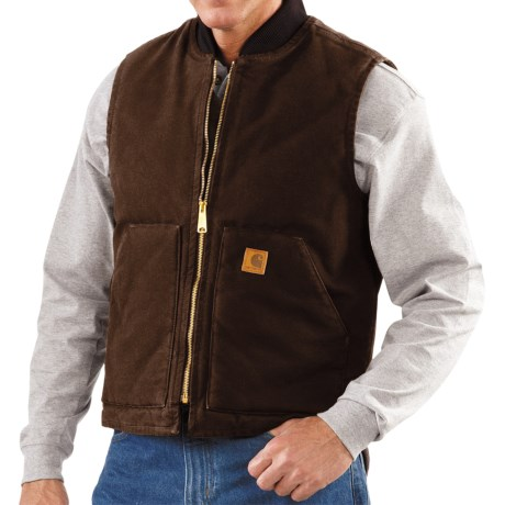 Carhartt Sandstone Duck Vest - Insulated (For Men) in Dark Brown