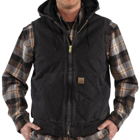Carhartt Sandstone Hooded Active Vest - Insulated (For Men) in Black