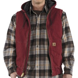 Carhartt Sandstone Hooded Active Vest - Insulated (For Men) in Carhartt Brown
