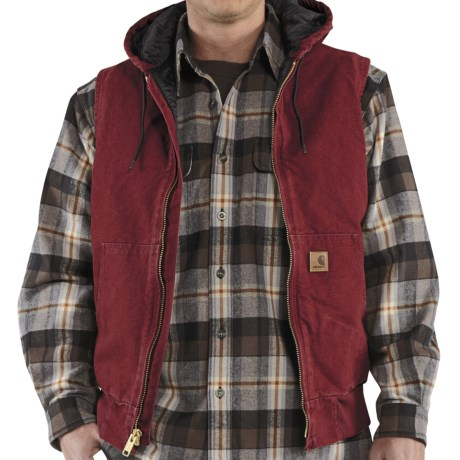 Carhartt Sandstone Hooded Active Vest - Insulated (For Men) in Dark Red