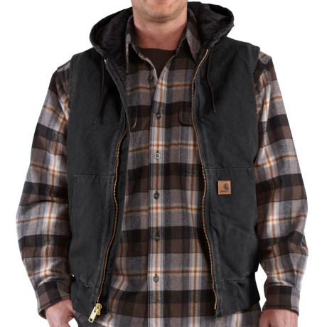 Carhartt Sandstone Hooded Active Vest - Insulated (For Tall Men) in Black