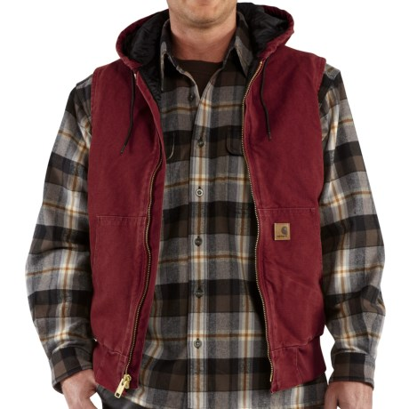 Carhartt Sandstone Hooded Active Vest - Insulated (For Tall Men) in Dark Red