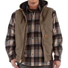 Carhartt Sandstone Hooded Active Vest - Insulated (For Tall Men) in Light Brown - 2nds