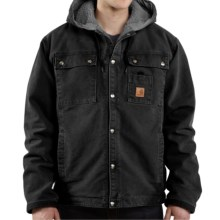 Carhartt Sandstone Hooded Multi-Pocket Jacket - Sherpa Lined (For Big Men) in Black - 2nds