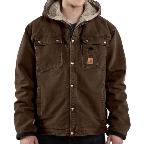 Carhartt Sandstone Hooded Multi Pocket Jacket Sherpa Lined (For Big Men)