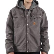 Carhartt Sandstone Hooded Multi-Pocket Jacket - Sherpa Lined (For Big Men) in Gravel - 2nds