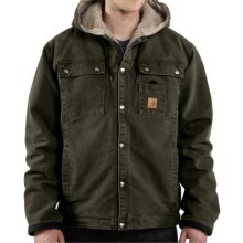 Carhartt Sandstone Hooded Multi-Pocket Jacket - Sherpa Lined (For Big Men) in Moss - 2nds