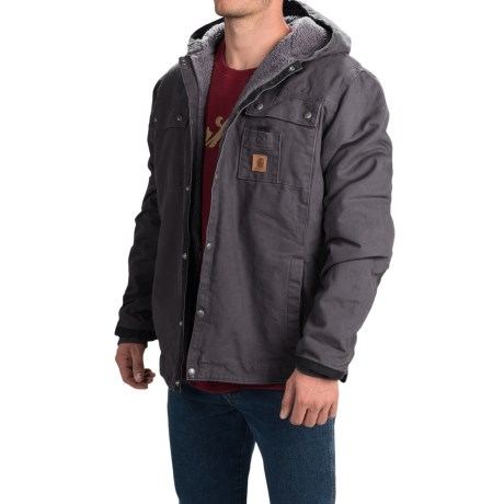 Carhartt Sandstone Hooded Multi-Pocket Jacket - Sherpa Lined (For Men) in Gravel