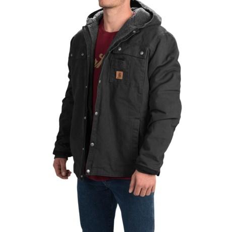 Carhartt Sandstone Hooded Multi-Pocket Jacket - Sherpa Lined (For Tall Men) in Black