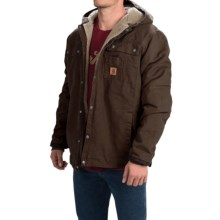 Carhartt Sandstone Hooded Multi-Pocket Jacket - Sherpa Lined (For Tall Men) in Dark Brown - 2nds
