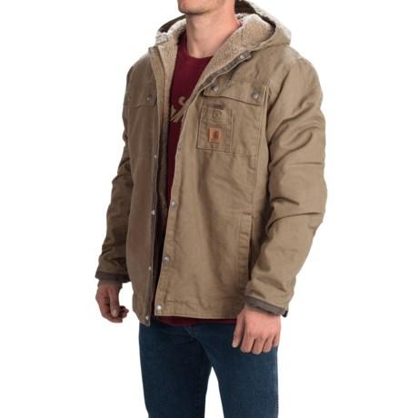 Carhartt Sandstone Hooded Multi-Pocket Jacket - Sherpa Lined (For Tall Men) in Dark Brown
