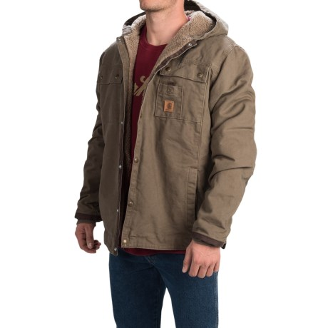 Carhartt Sandstone Hooded Multi-Pocket Jacket - Sherpa Lined (For Tall Men) in Light Brown