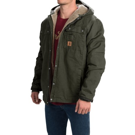 Carhartt Sandstone Hooded Multi-Pocket Jacket - Sherpa Lined (For Tall Men) in Moss