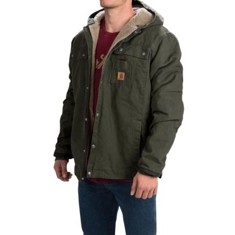 Carhartt Sandstone Hooded Multi-Pocket Jacket - Sherpa Lined (For Tall Men) in Moss