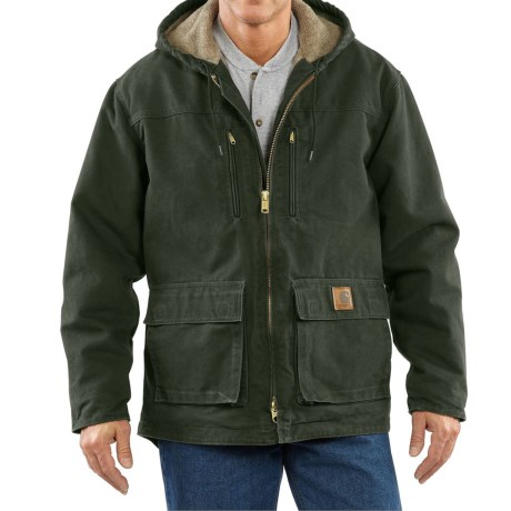 Carhartt Sandstone Jackson Coat - Sherpa Lined, Factory Seconds (For Big Men) in Moss