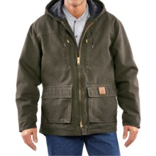 Carhartt Sandstone Jackson Coat - Sherpa-Lined (For Big Men) in Army Green - 2nds